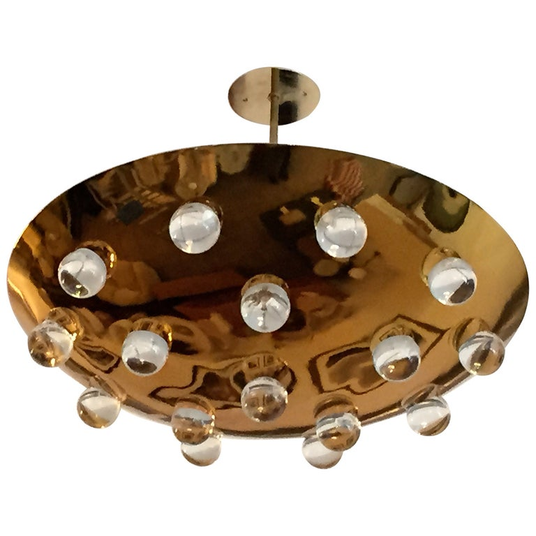 Golden Crystal French 1960s Pendant Flush Light Midcentury