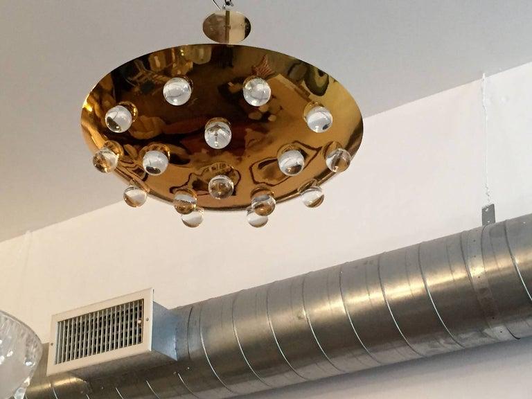 Mid-Century Modern Golden Crystal French 1960s Pendant Flush Light Midcentury For Sale