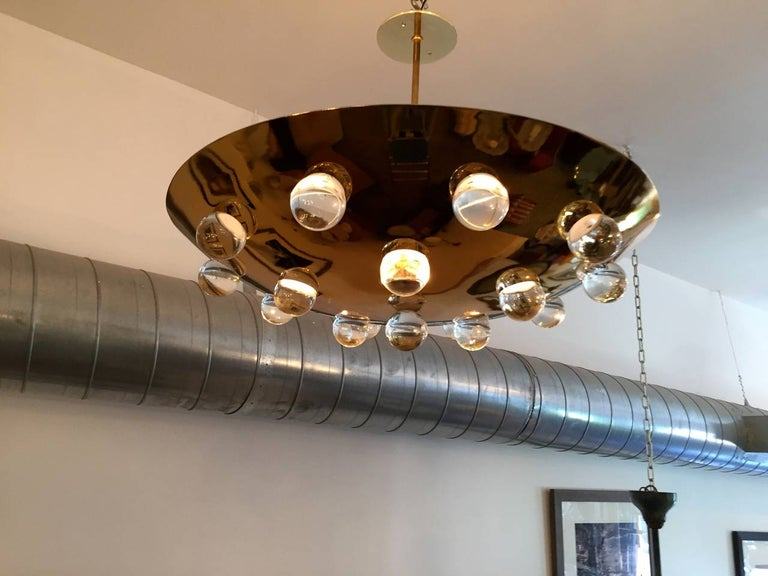 Mid-20th Century Golden Crystal French 1960s Pendant Flush Light Midcentury For Sale