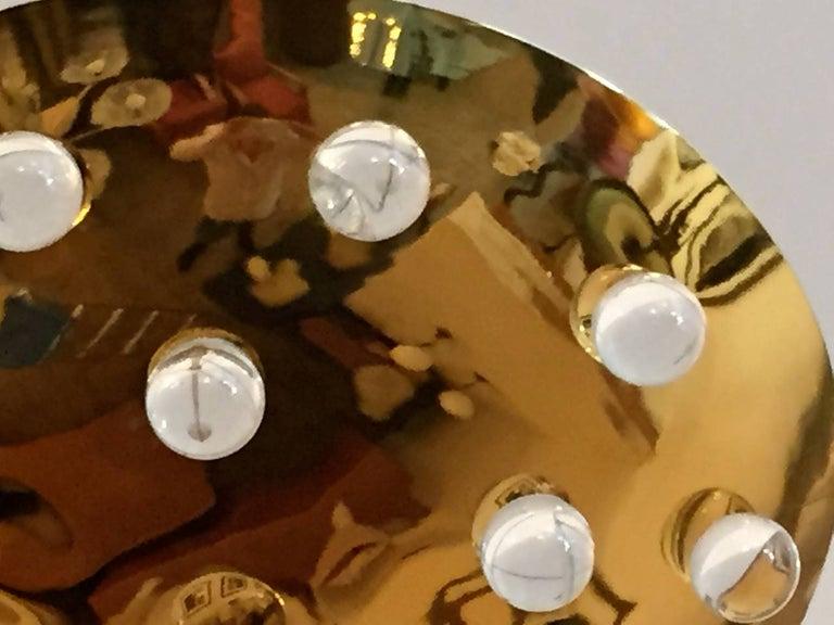 Golden Crystal French 1960s Pendant Flush Light Midcentury For Sale 1