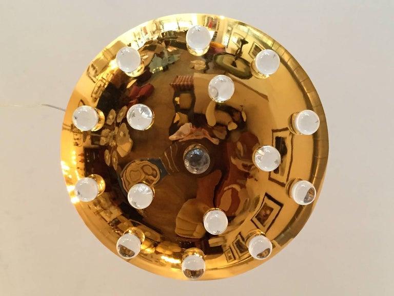Golden Crystal French 1960s Pendant Flush Light Midcentury For Sale 2