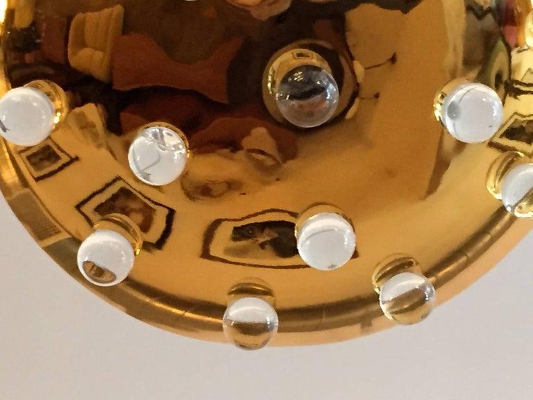 Golden Crystal French 1960s Pendant Flush Light Midcentury For Sale 3
