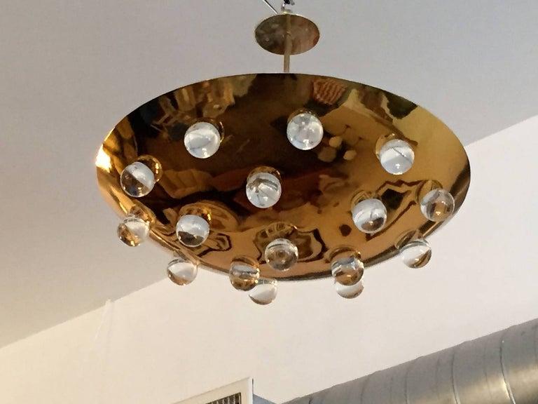 Golden Crystal French 1960s Pendant Flush Light Midcentury For Sale 4