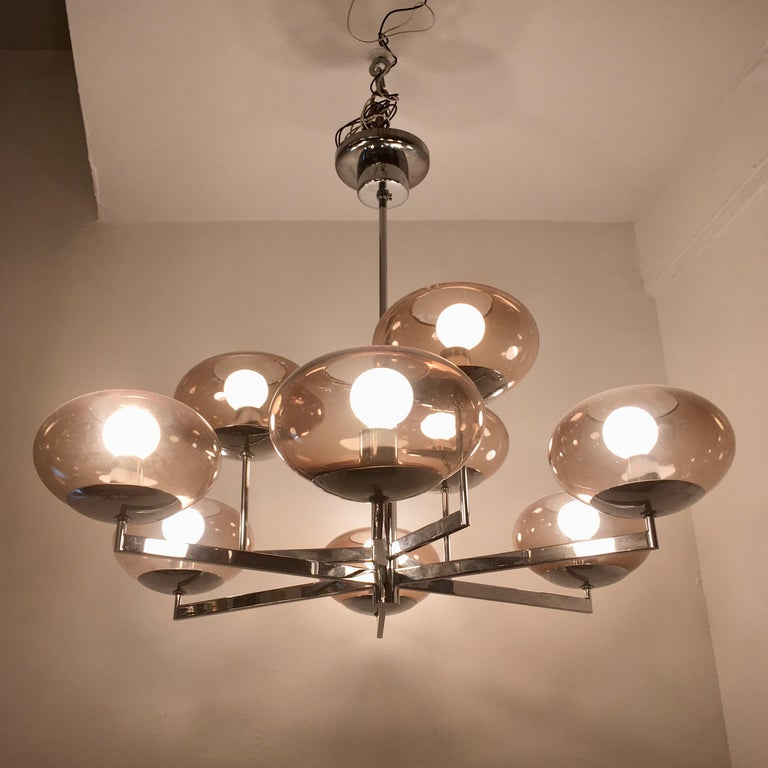 Sciolari 1960s Space Age Modernist Chandelier In Excellent Condition For Sale In New York, NY