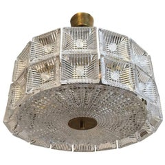 Orrefors Carl Fagerlund 1960s Crystal Flush Chandelier Pendant
