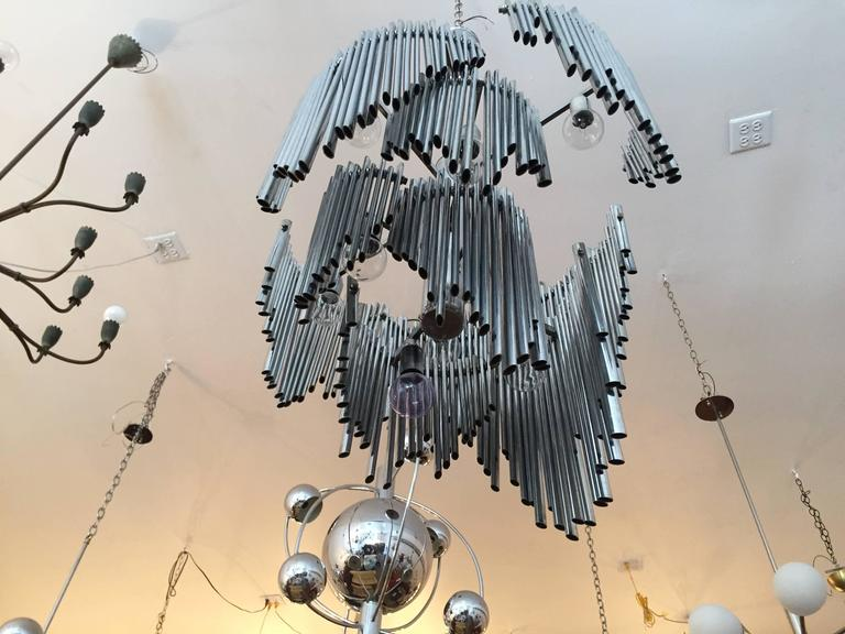 Mid-Century Modern Italian High Style 1970s Sculptural Chandelier For Sale