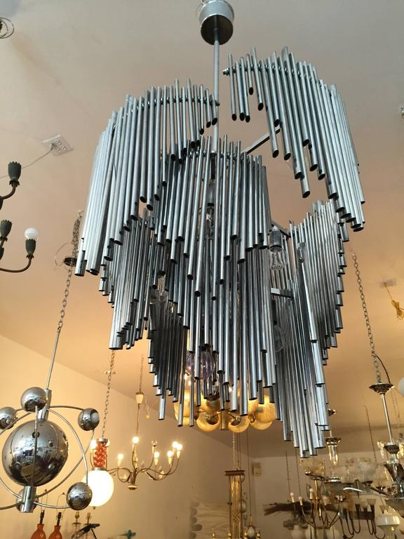 Chrome Italian High Style 1970s Sculptural Chandelier For Sale