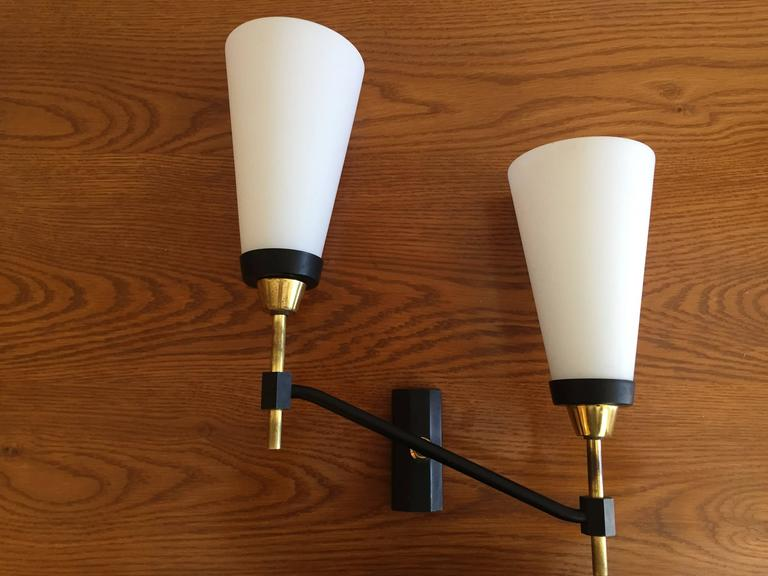 Large Set of Three French 1950s Lunel Wall Lights 8