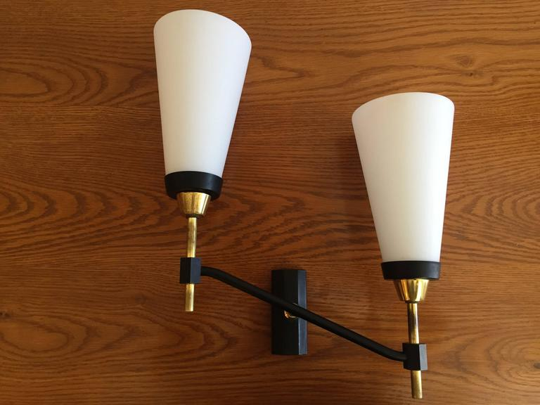 Large Set of Three French 1950s Lunel Wall Lights 2