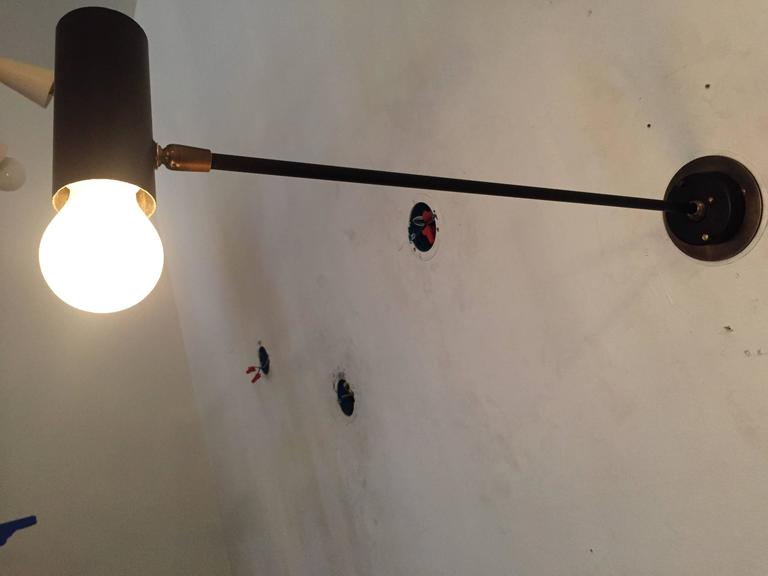 Enamel Pair of French Directional 1950s Wall Lights For Sale