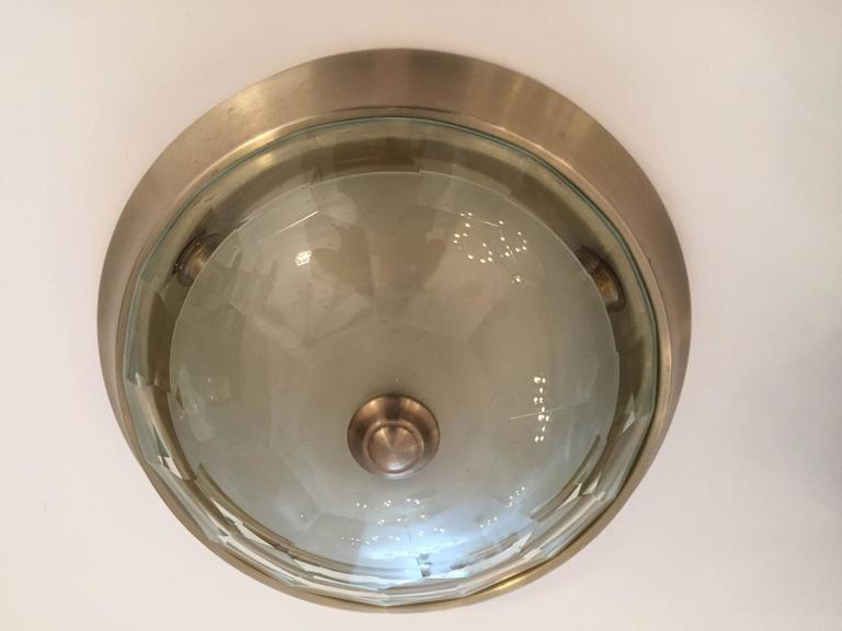 Italian Crystal Mid-Century Modern Flush Ceiling Light  Oscar Torlasco for Lumi 6