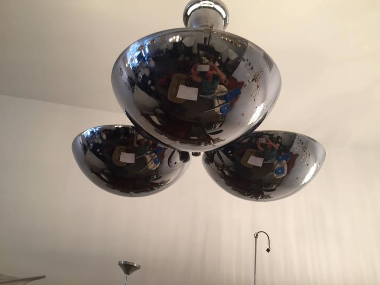 Czech Bauhaus  1930s Flush Pendant Light In Excellent Condition For Sale In New York, NY