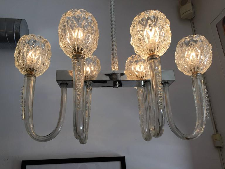 Barovier 1940s Moderne Italian Murano Glass Chandelier In Excellent Condition For Sale In New York, NY