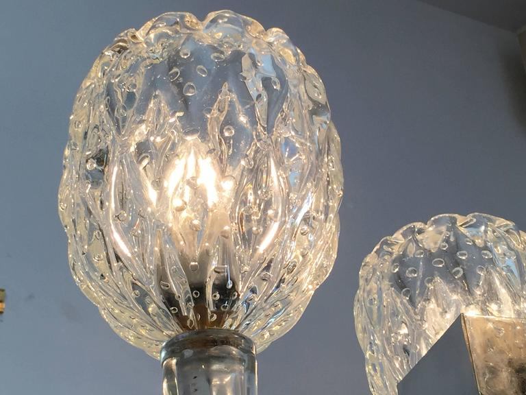 Barovier 1940s Moderne Italian Murano Glass Chandelier For Sale 2