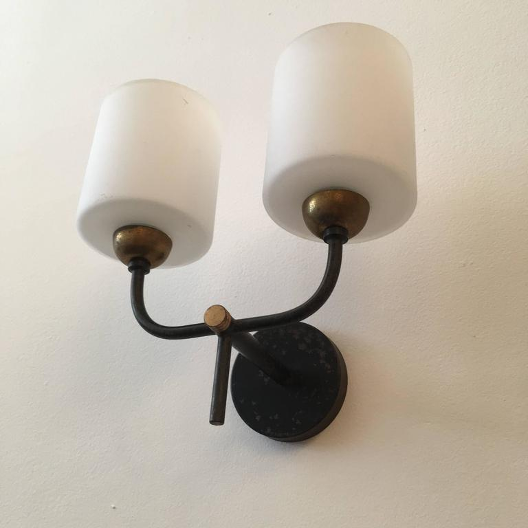 French Enamel Wall Lights : Pair of French Arlus 1960s Wall Lights For Sale at 1stdibs