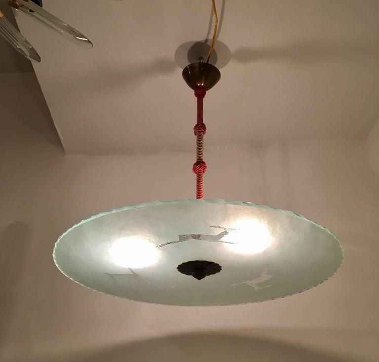 Swedish 1930s Art Deco Glass Flush Ceiling Pendant by Glossner For Sale 4