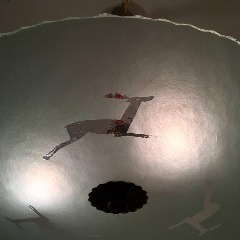 Swedish 1930s Art Deco Glass Flush Ceiling Pendant by Glossner For Sale 5