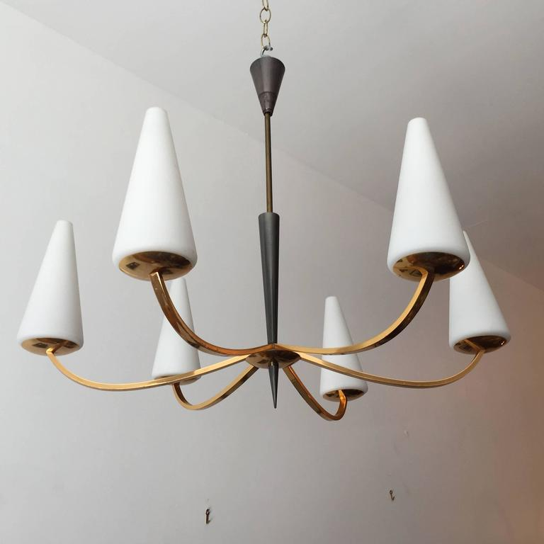 1960s French Lunel Modern Chandelier 9