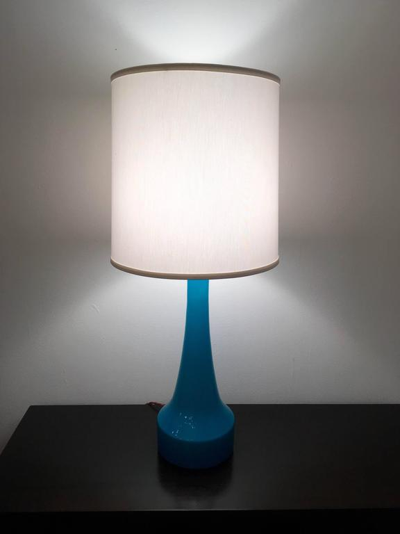 Mid-20th Century Pair of Swedish Holmegaard Blue Glass Table Lamps, 1960s For Sale