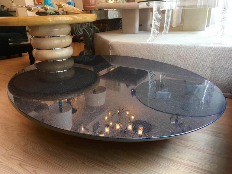Lucia Mercer Black Marble 1982 Knoll Stump Coffee Table