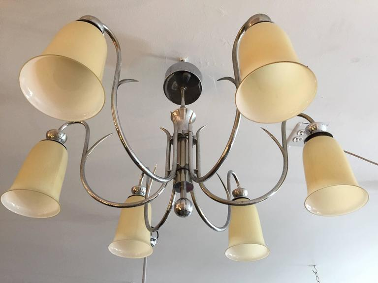Austrian art deco 1920s flush ceiling light for sale at 1stdibs a wonderful 1920s austrian art deco chandelier or flush ceiling light composed of a chrome body mozeypictures Image collections