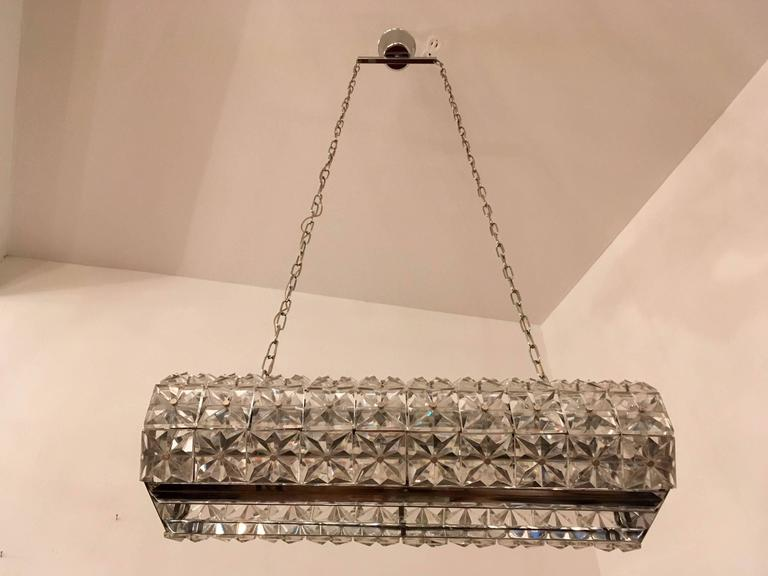Kinkeldey Austrian Crystal 1960s Pendant Flush Light In Excellent Condition For Sale In New York, NY