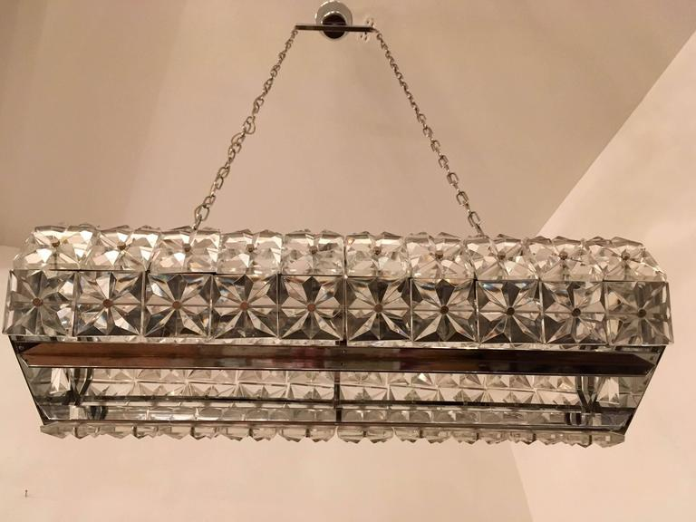 Mid-20th Century Kinkeldey Austrian Crystal 1960s Pendant Flush Light For Sale