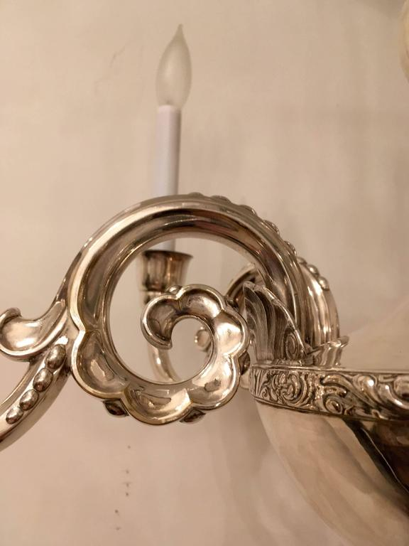 Art Deco Swedish Silver 1920s Chandelier by Elis Bergh for CG Hallberg For Sale