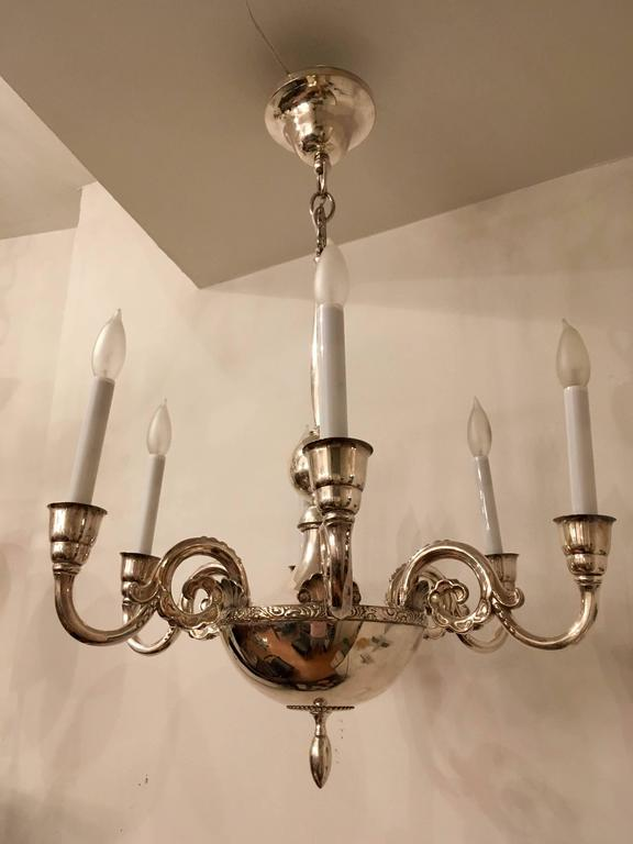 Swedish Silver 1920s Chandelier by Elis Bergh for CG Hallberg In Excellent Condition For Sale In New York, NY
