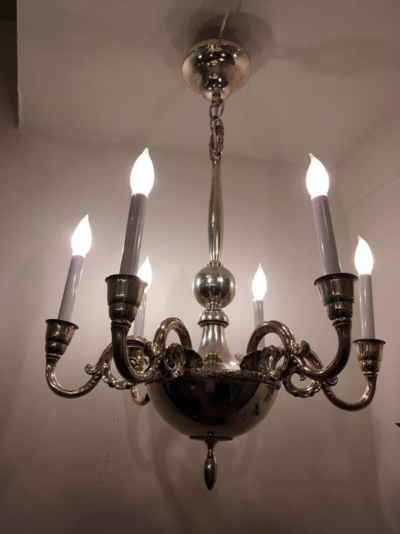 Swedish Silver 1920s Chandelier by Elis Bergh for CG Hallberg For Sale 2