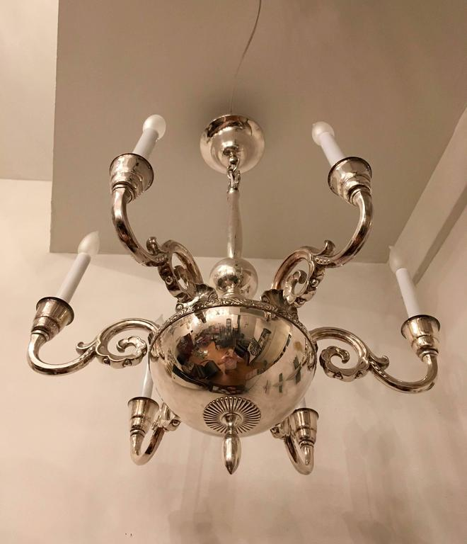 Early 20th Century Swedish Silver 1920s Chandelier by Elis Bergh for CG Hallberg For Sale