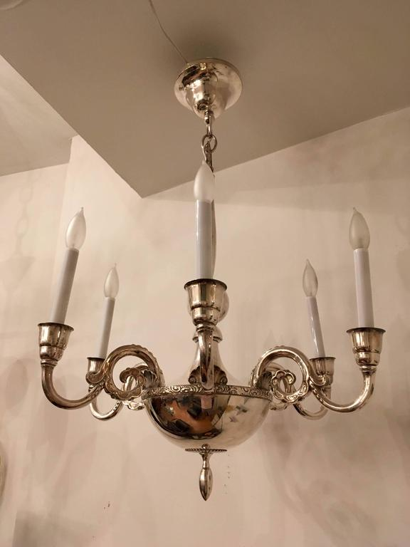 Silver Plate Swedish Silver 1920s Chandelier by Elis Bergh for CG Hallberg For Sale