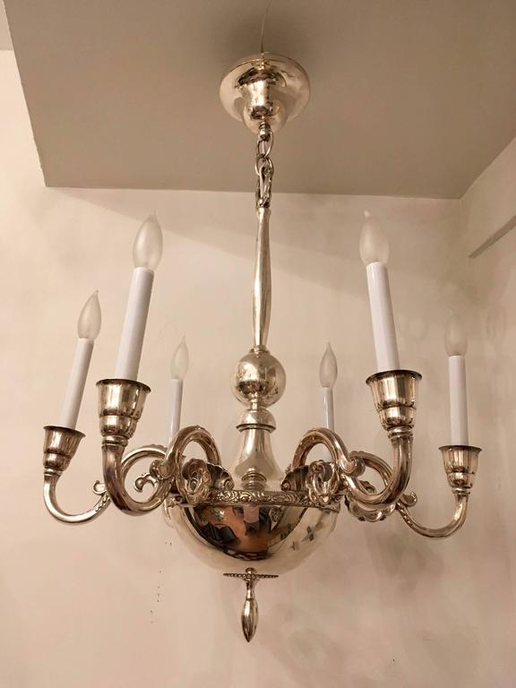 Swedish Silver 1920s Chandelier by Elis Bergh for CG Hallberg For Sale 3