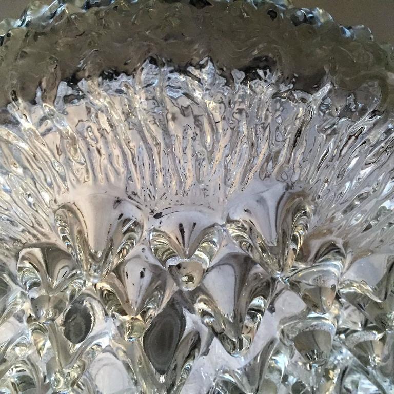 German Limburg Glass 1960s Flush Ceiling Light For Sale