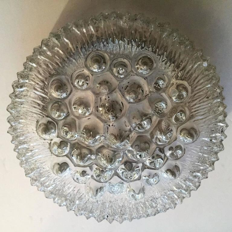 Limburg Glass 1960s Flush Ceiling Light In Excellent Condition For Sale In New York, NY