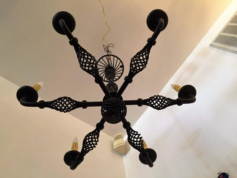Mid-20th Century French Moderne 1940s Iron Chandelier For Sale