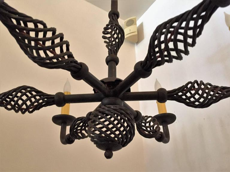 French Moderne 1940s Iron Chandelier For Sale 1