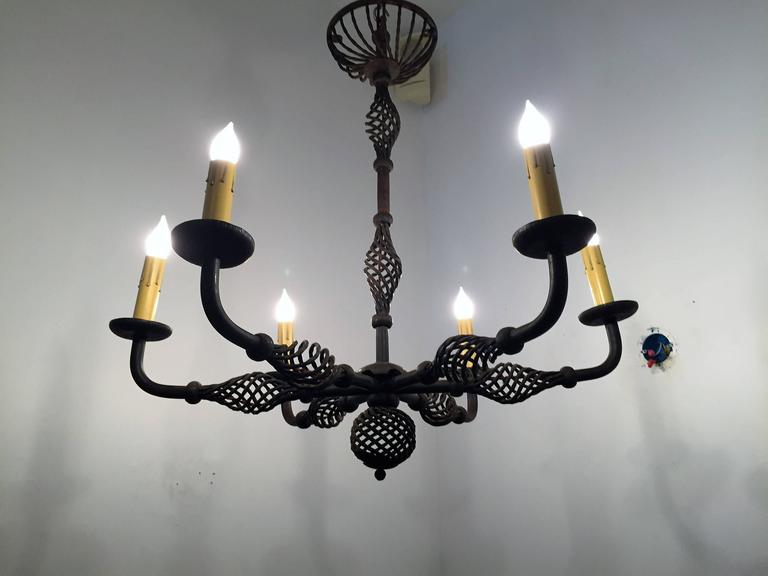 French Moderne 1940s Iron Chandelier For Sale 4