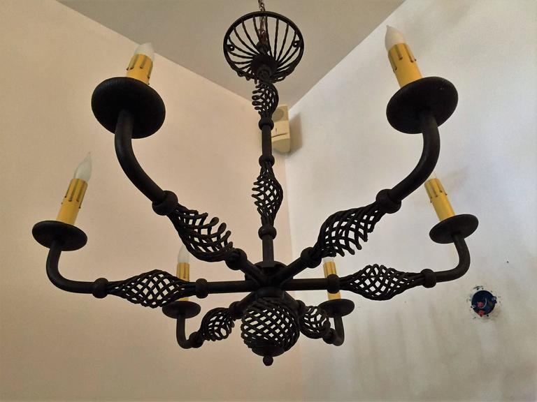 French Moderne 1940s Iron Chandelier For Sale 5
