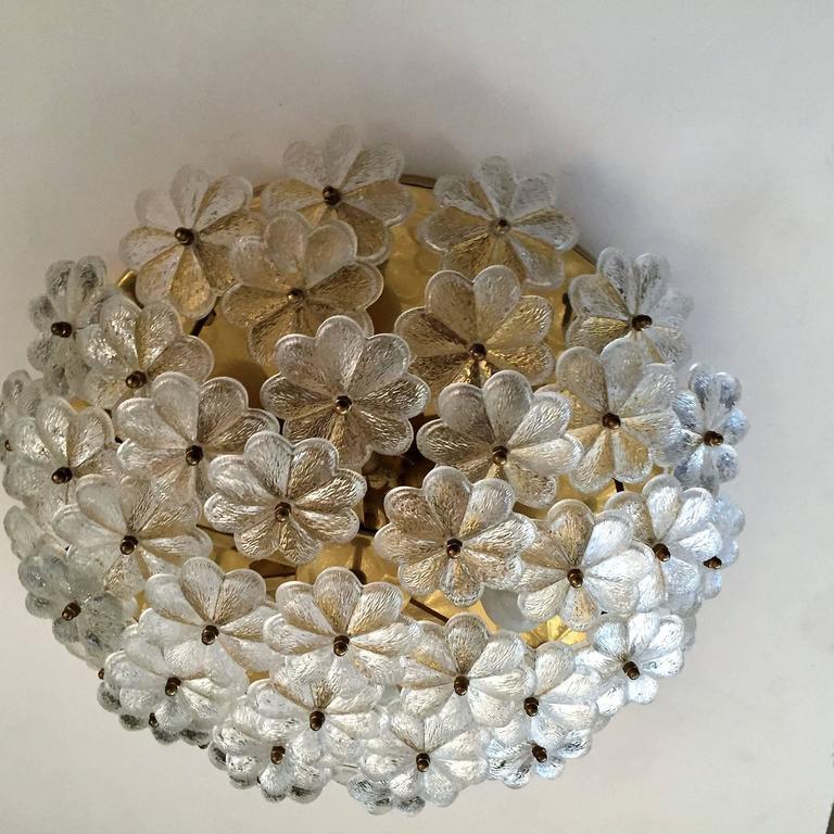 Extra Large Palme Glass Austrian 1960s Flush Ceiling Light 3