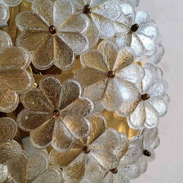 Mid-20th Century Extra Large Palme Glass Austrian 1960s Flush Ceiling Light For Sale