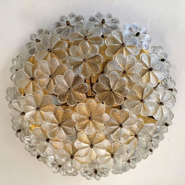 Brass Extra Large Palme Glass Austrian 1960s Flush Ceiling Light For Sale
