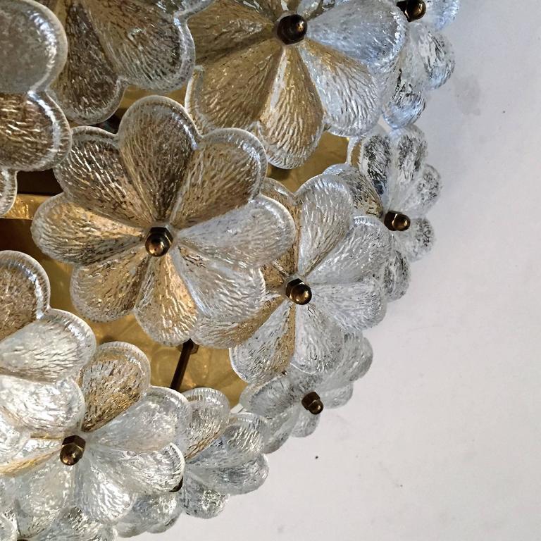 Extra Large Palme Glass Austrian 1960s Flush Ceiling Light For Sale 1