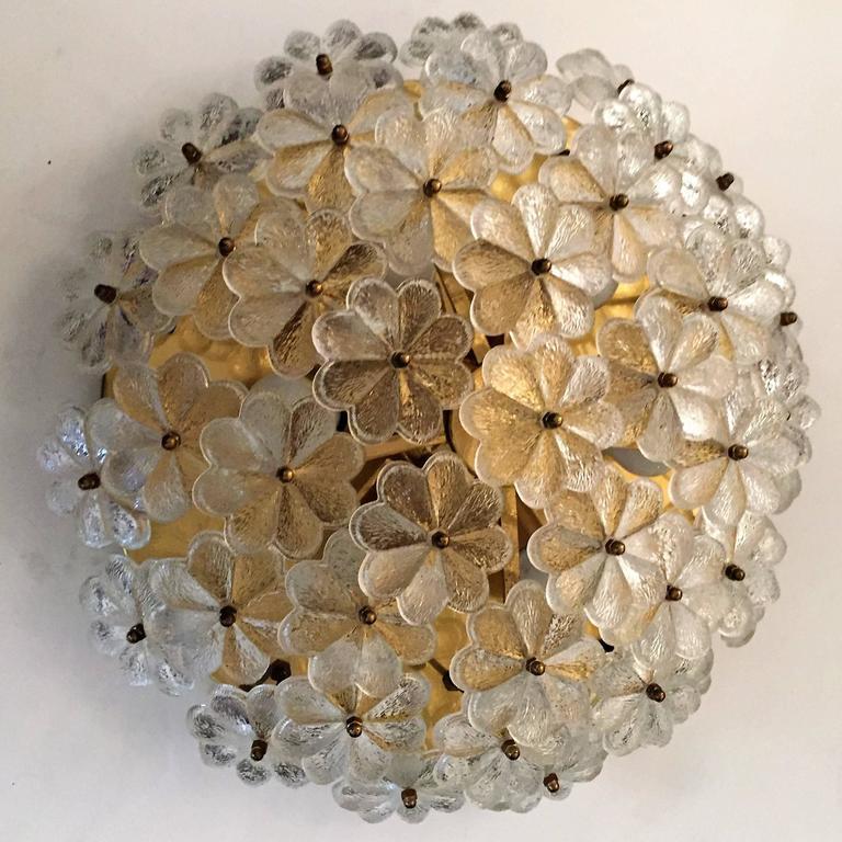 Extra Large Palme Glass Austrian 1960s Flush Ceiling Light 8