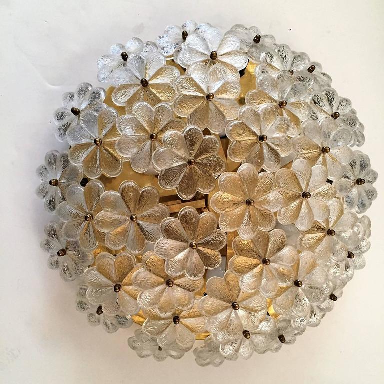Extra Large Palme Glass Austrian 1960s Flush Ceiling Light 9