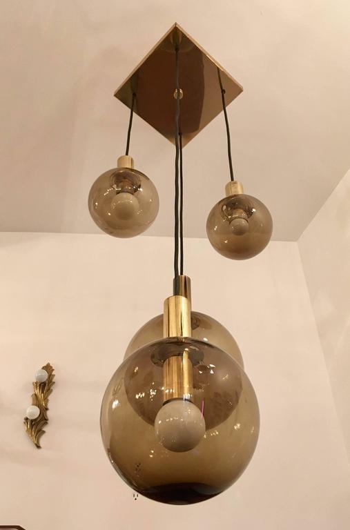 Raak Dutch 1970s Four Smoked Glass Globe Ceiling Light For