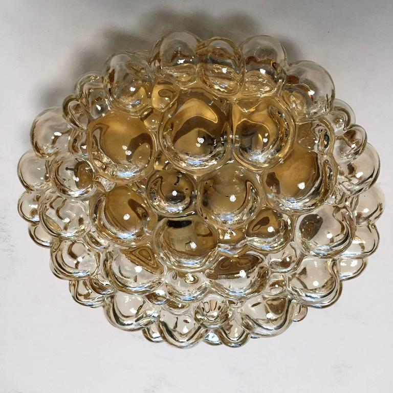 German Pair of Limburg Glass Bubble Flush Ceiling Lights For Sale