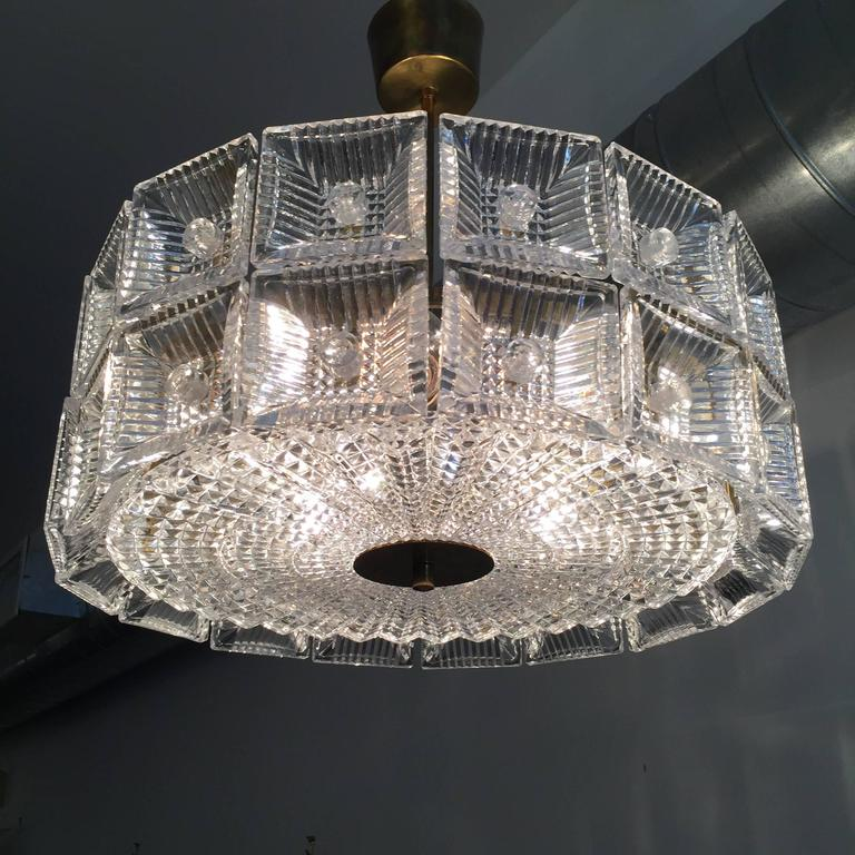 Mid-Century Modern Orrefors Carl Fagerlund 1960s Crystal Flush Chandelier Pendant For Sale