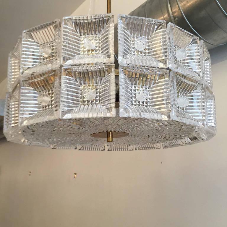 Mid-20th Century Orrefors Carl Fagerlund 1960s Crystal Flush Chandelier Pendant For Sale