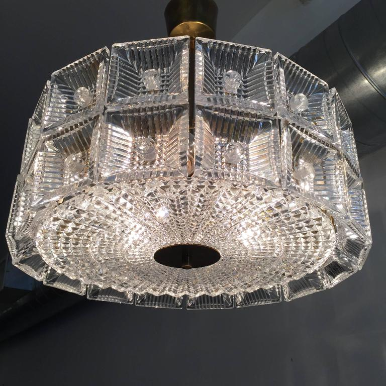 Orrefors Carl Fagerlund 1960s Crystal Flush Chandelier Pendant For Sale 1